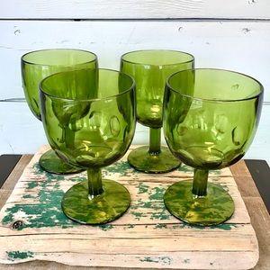 A Set of 4 Vintage Wine Glasses or Water Goblets